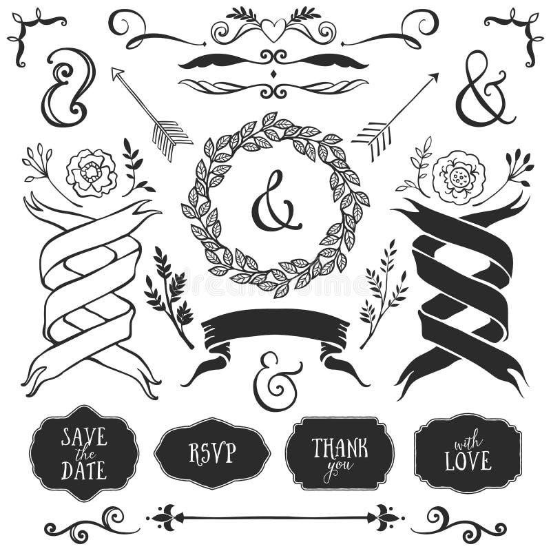 Uitstekende decoratieve elementen met het van letters voorzien Hand getrokken vector stock illustratie