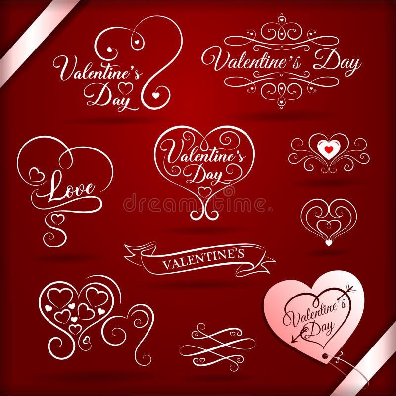 Uitstekende decoratieve elementen voor valentijnskaartendag met feestelijke inschrijvingen royalty-vrije illustratie