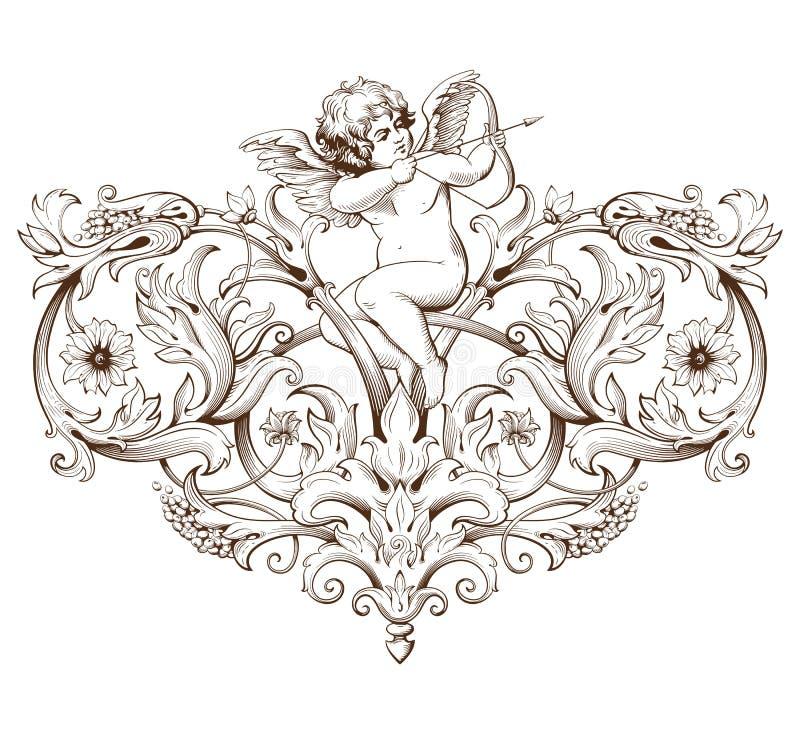 Uitstekende decoratieve elementengravure met Barokke ornamentpatroon en cupido vector illustratie