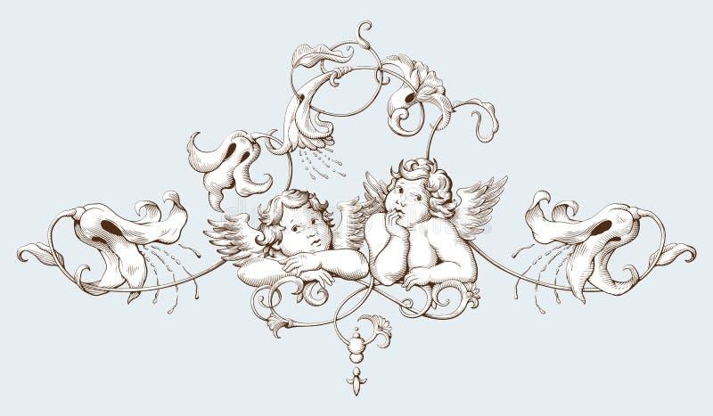 Uitstekende decoratieve elementengravure met Barokke ornamentpatroon en cupido's stock illustratie
