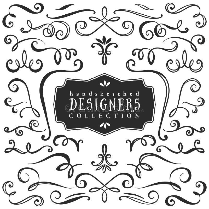 Uitstekende decoratieve krullen en wervelingeninzameling Getrokken hand stock illustratie
