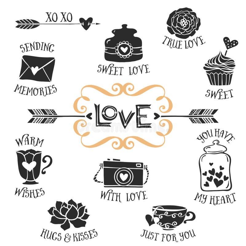 Uitstekende decoratieve liefdekentekens met het van letters voorzien Hand getrokken vector stock illustratie