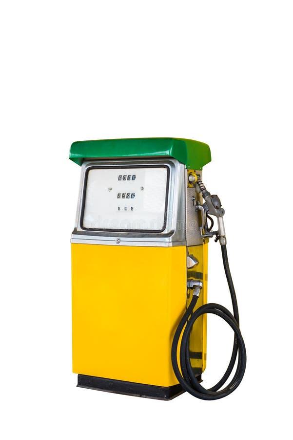 Uitstekende die de pompautomaat van de benzinebrandstof met het knippen van weg wordt geïsoleerd stock afbeeldingen