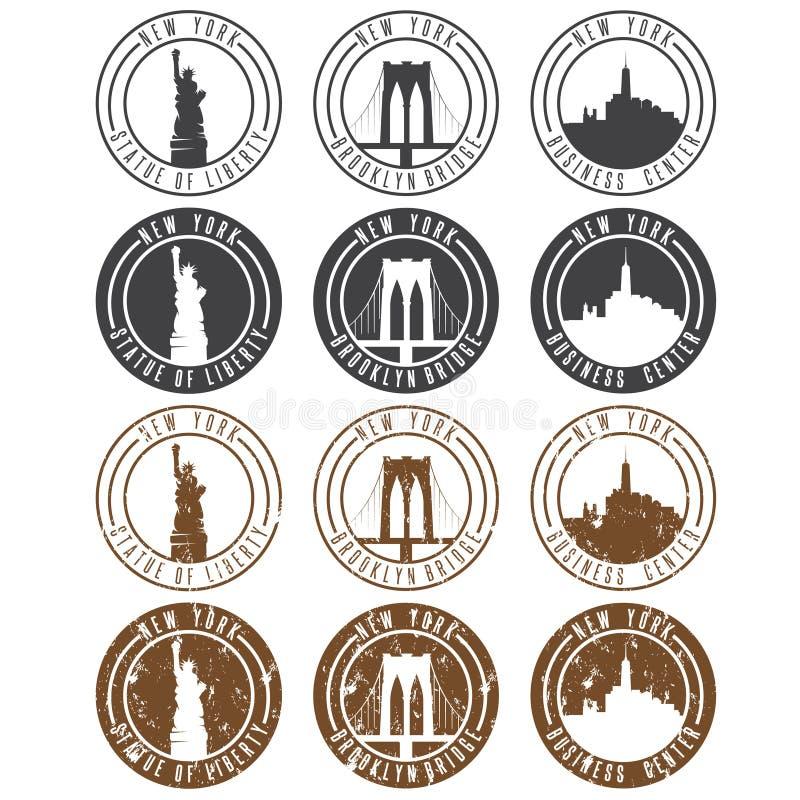 Uitstekende die etikettenvector met oriëntatiepunten van New York wordt geplaatst vector illustratie