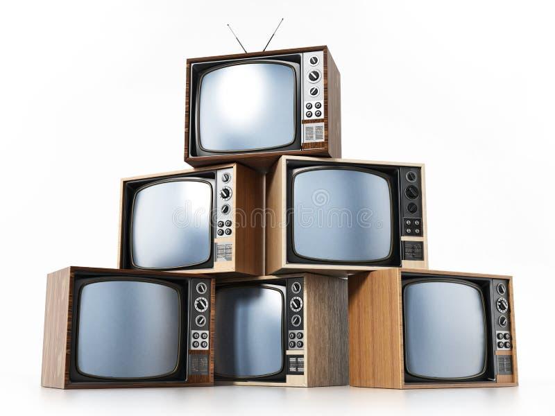 Uitstekende die TV-stapel op witte achtergrond wordt geïsoleerd 3D Illustratie royalty-vrije illustratie