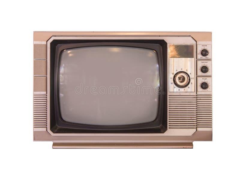 Uitstekende die TV of televisie op witte achtergrond wordt geïsoleerd royalty-vrije stock afbeelding