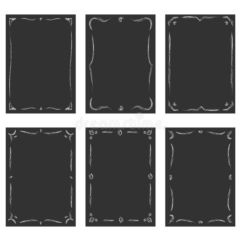 Uitstekende die vignetten op de zwarte borden worden geplaatst stock illustratie