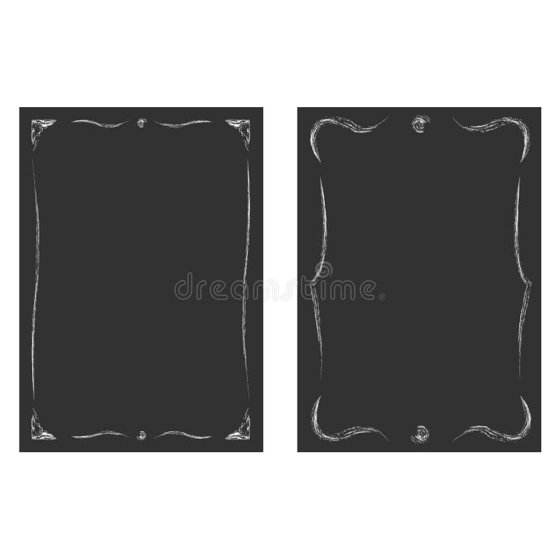 Uitstekende die vignetten op de zwarte borden worden geplaatst vector illustratie