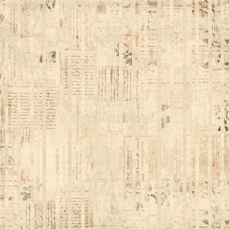 Uitstekende document efemere verschijnselen, tekst en bloemencollage royalty-vrije illustratie