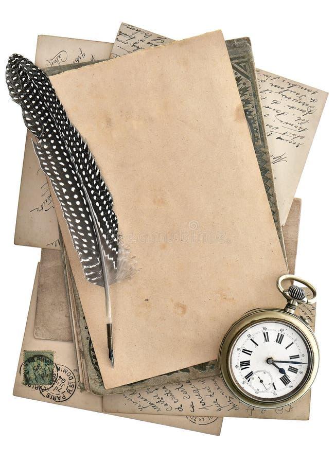 Uitstekende documenten en prentbriefkaaren die op wit worden geïsoleerd royalty-vrije stock afbeeldingen