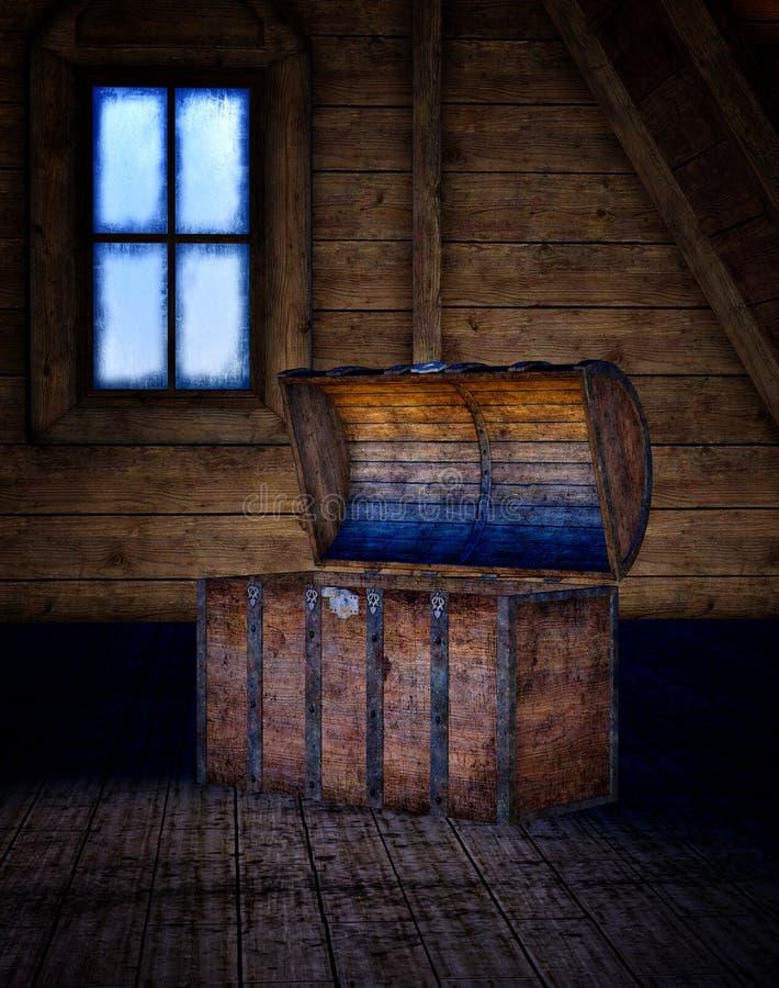 Uitstekende doos in de zolder vector illustratie