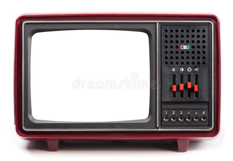 Uitstekende draagbare die Televisie met het knipselscherm op wit wordt geïsoleerd royalty-vrije stock afbeelding