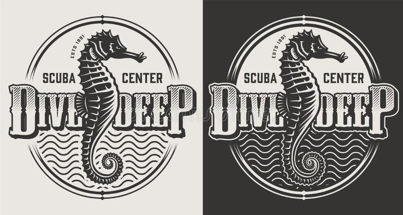 Uitstekende duik zwart-wit emblemen royalty-vrije illustratie