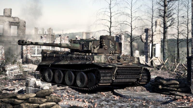 Uitstekende Duitse Wereldoorlog 2 gepantserde zware in evenwicht gehouden het gevechtstank van Panzer op het slagveld WO.II vector illustratie