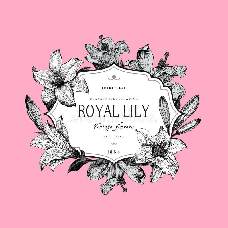 Uitstekende elegante bloemenkaart royalty-vrije illustratie