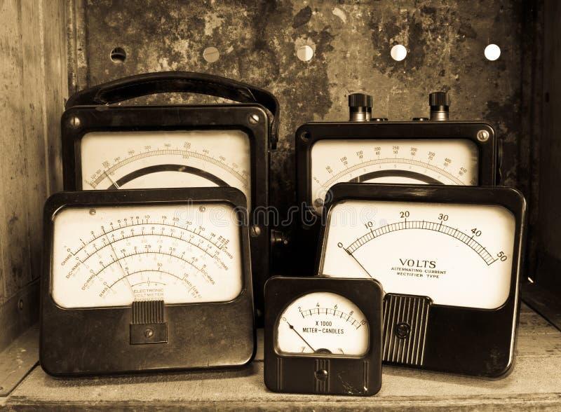 Uitstekende Elektrische Meters royalty-vrije stock foto's