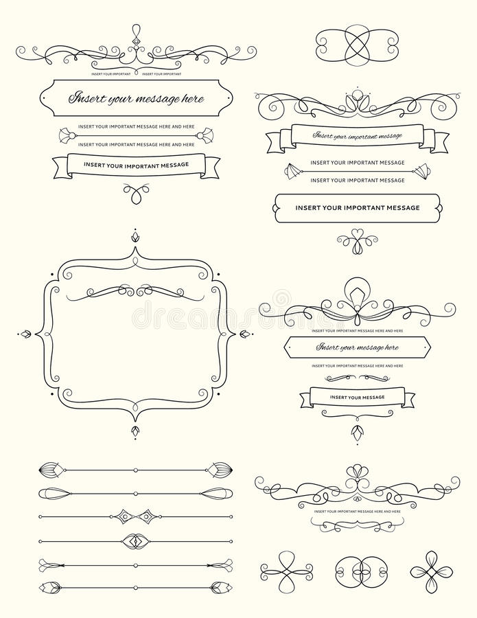 Uitstekende Elementen Twee van het Kalligrafieontwerp royalty-vrije stock afbeeldingen
