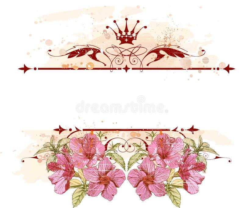 Uitstekende embleem & bloemen royalty-vrije illustratie