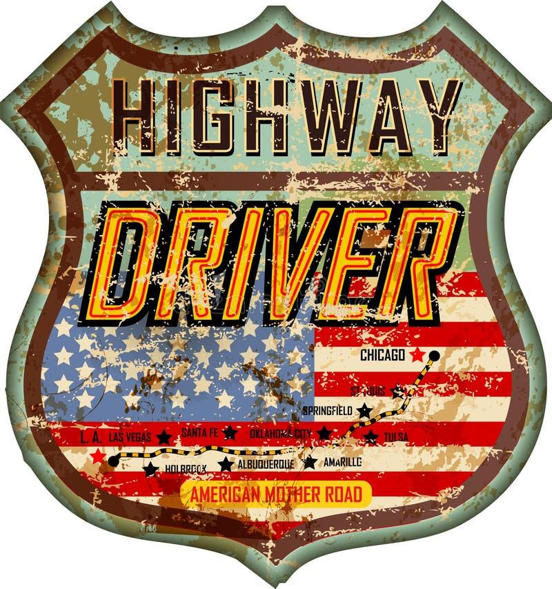 Uitstekende en geslagen de bestuurdersteken of auto van de email Amerikaanse weg royalty-vrije illustratie