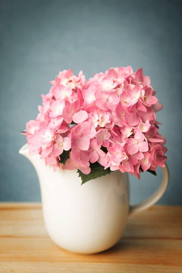 Uitstekende en retro kleurentoon van de zoete roze hydrangea hortensia flowe royalty-vrije stock foto