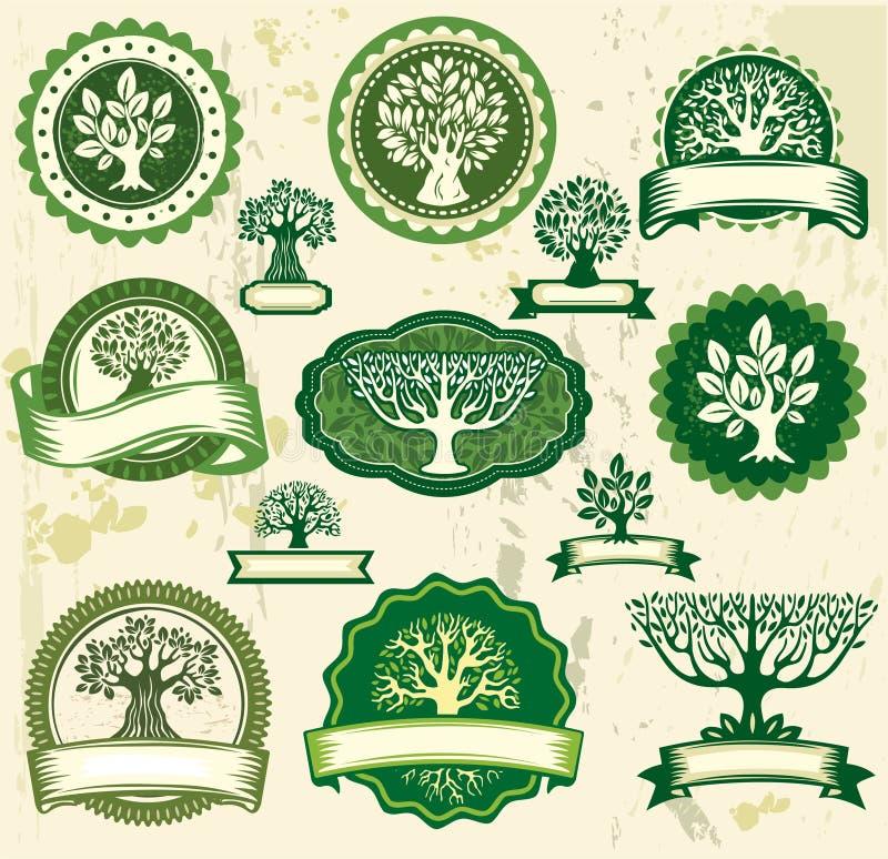 Uitstekende etiketten met bomen vector illustratie