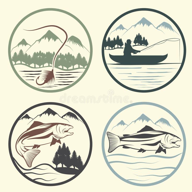 Uitstekende etiketten met visserijthema vector illustratie