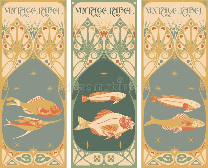 Uitstekende etiketten: vissen royalty-vrije illustratie