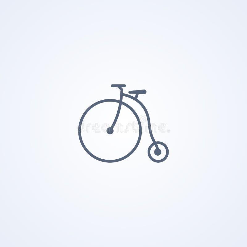 Uitstekende fiets, vector beste grijs lijnpictogram royalty-vrije illustratie