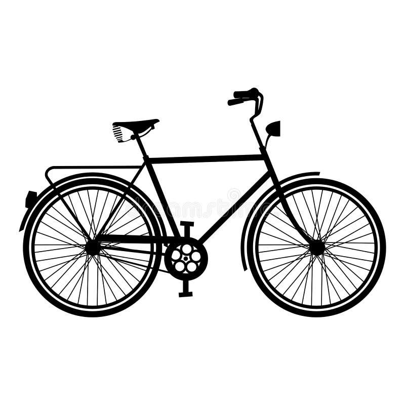 Uitstekende Fietssilhouet geïsoleerde fiets royalty-vrije illustratie