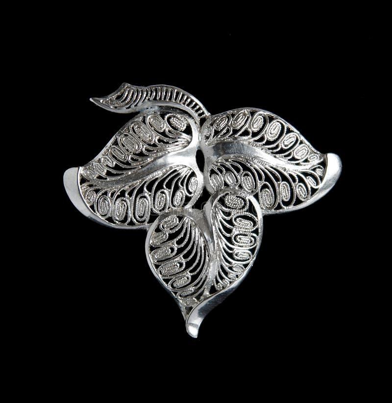 Uitstekende filigraan zilveren broche royalty-vrije stock foto