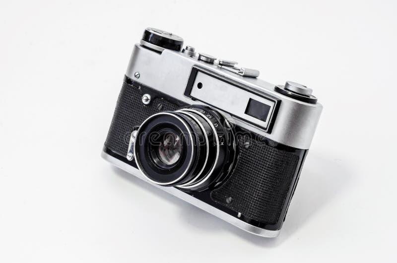 Uitstekende filmcamera, close-up op een witte achtergrond, zijaanzicht royalty-vrije stock foto's