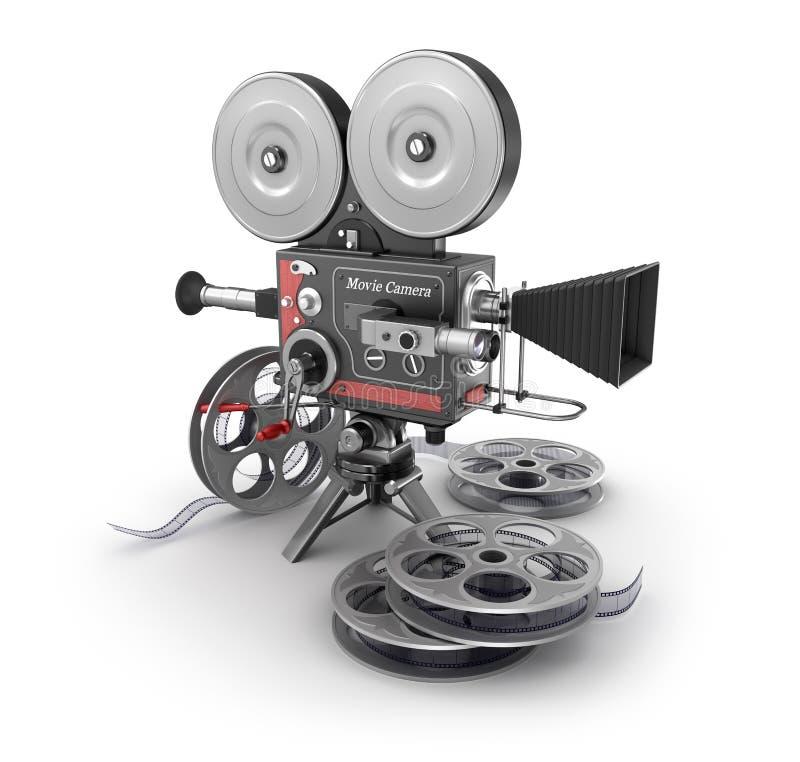 Uitstekende Filmcamera en Film vector illustratie