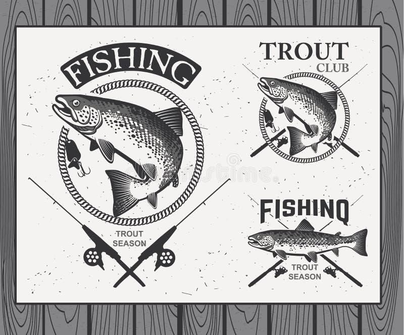 Uitstekende forel visserijemblemen, etiketten en ontwerp royalty-vrije illustratie