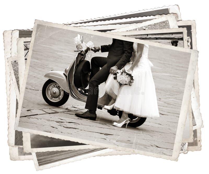 Uitstekende foto's met jonggehuwde stock foto