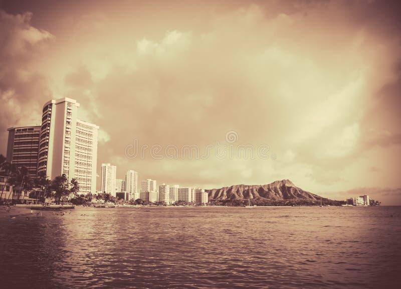 Uitstekende Foto van het Strand van Hawaï royalty-vrije stock afbeeldingen