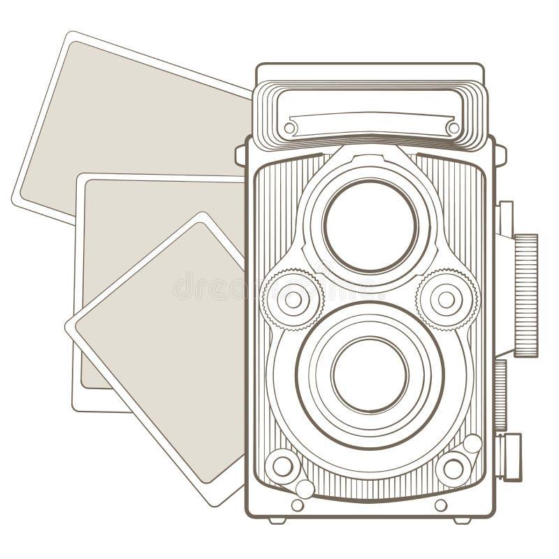 Uitstekende fotocamera met vignet royalty-vrije illustratie