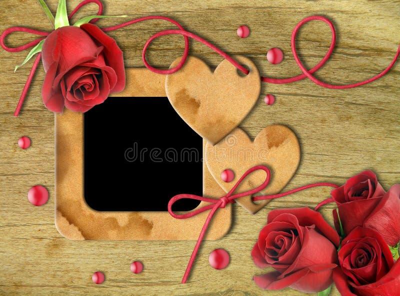 Uitstekende fotoframes, rood rozen en hart vector illustratie