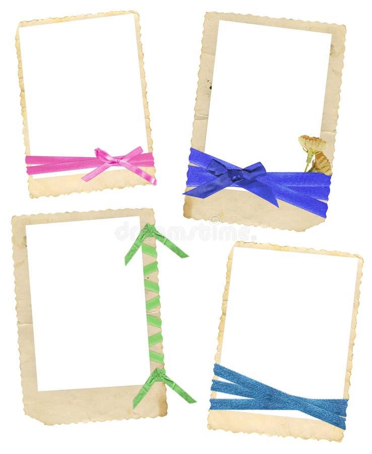 Uitstekende frames met linten stock foto's