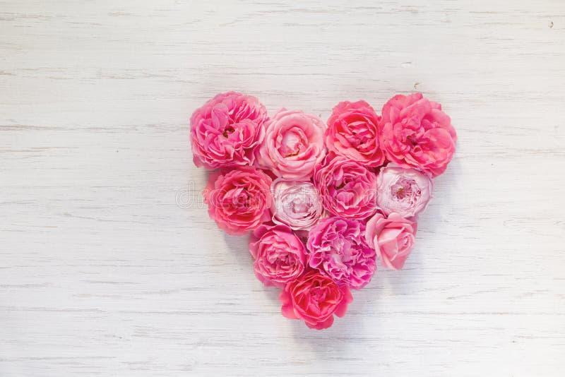 Uitstekende Frans nam hart-vormige bloemen op witte houten rustieke achtergrond toe De dag van de valentijnskaart `s royalty-vrije stock afbeelding