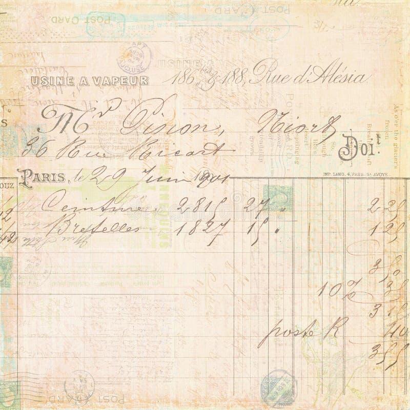Uitstekende Franse het manuscriptachtergrond van het rekeningsontvangstbewijs royalty-vrije stock afbeelding