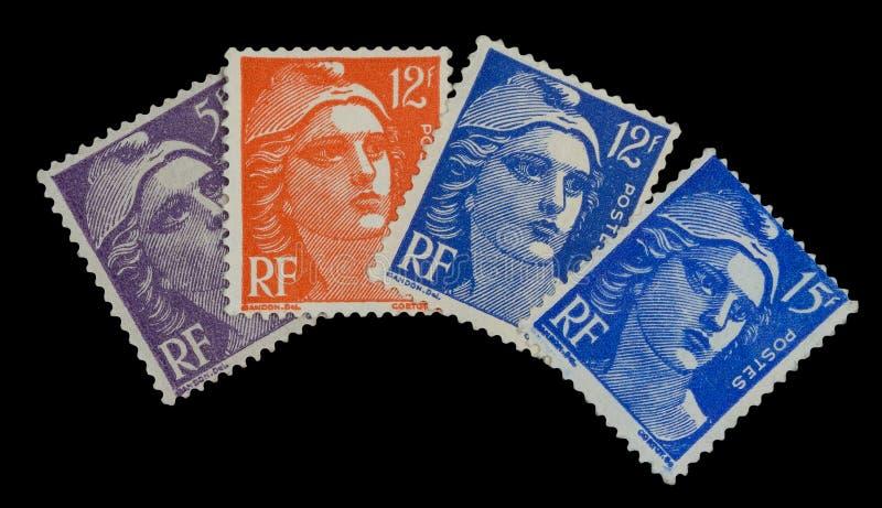 Uitstekende Franse postzegels van 50 ` s royalty-vrije stock afbeeldingen