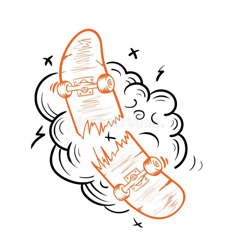 Uitstekende gebroken skateboardmalplaatje geïsoleerde vectorillustratie royalty-vrije illustratie