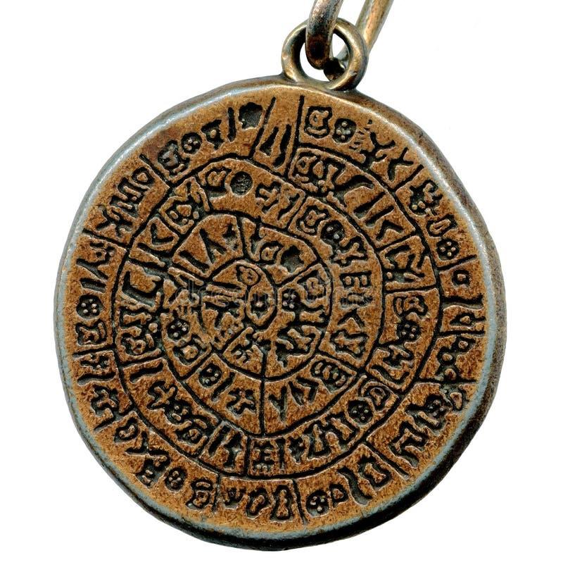 Uitstekende geheimzinnigheid amulet van oud metaal royalty-vrije stock fotografie