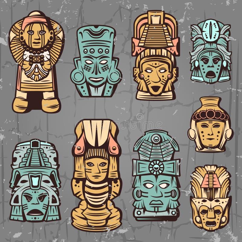 Uitstekende Gekleurde Azteekse Geplaatste Maskers stock illustratie