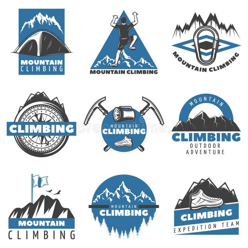 Uitstekende Gekleurde Berg die Geplaatste Etiketten beklimmen royalty-vrije illustratie