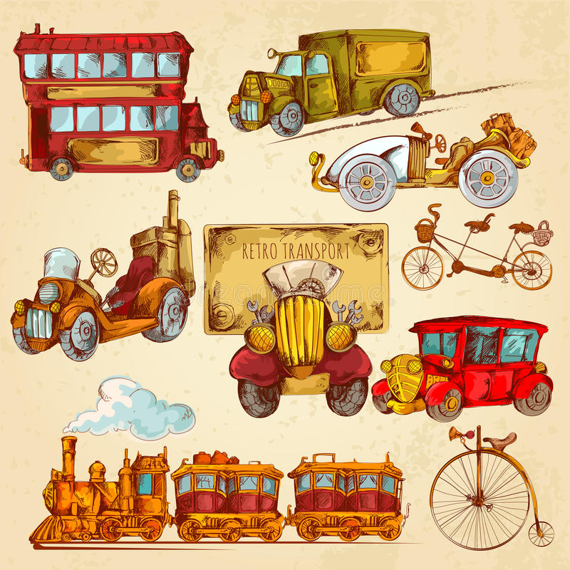 Uitstekende Gekleurde Vervoerschets royalty-vrije illustratie
