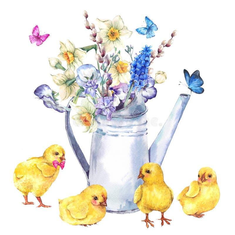 Uitstekende Gelukkige Pasen-groetkaart met de lenteboeket royalty-vrije illustratie