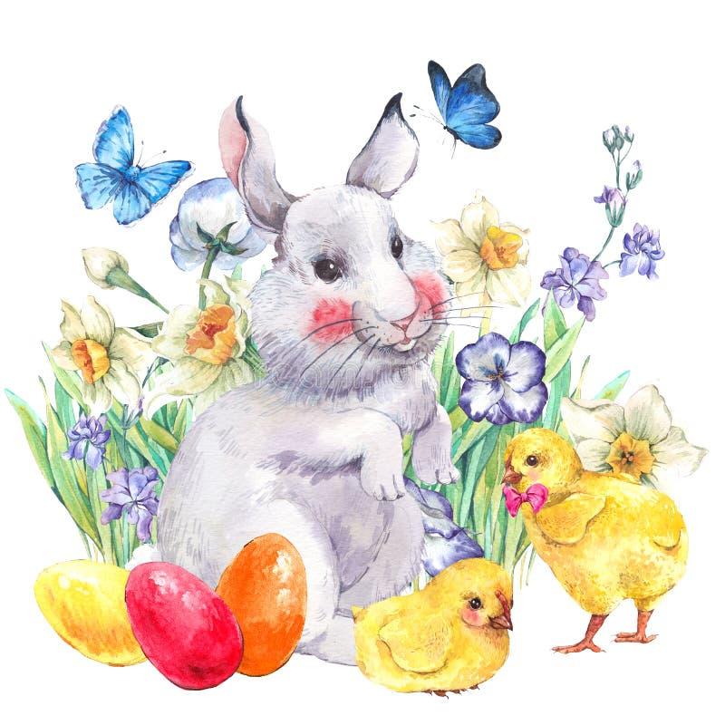 Uitstekende Gelukkige Pasen-groetkaart met konijntje en kippen vector illustratie
