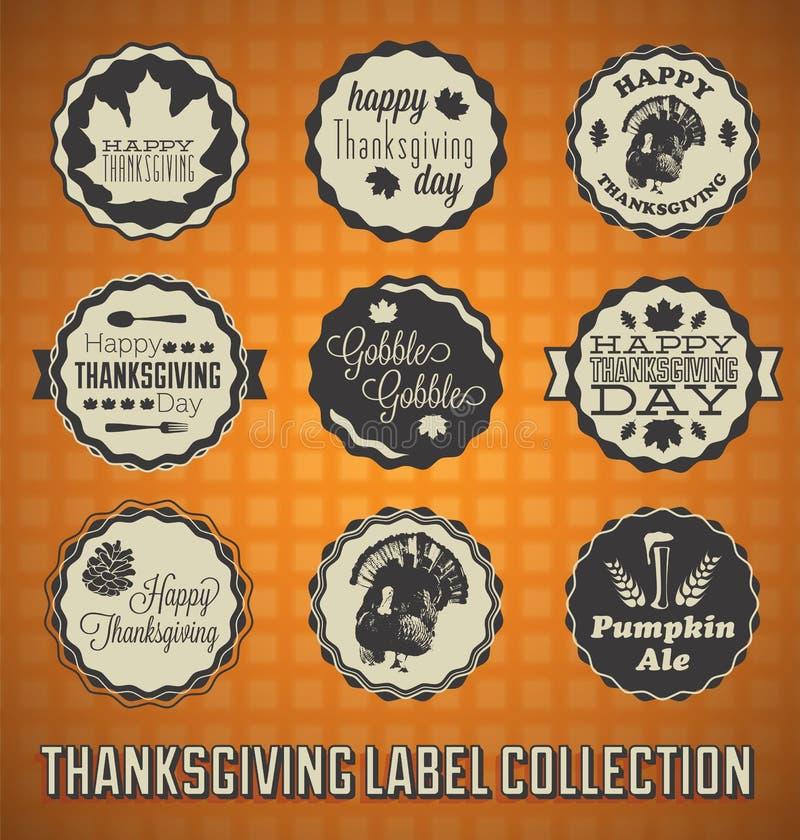 Uitstekende Gelukkige Thanksgiving dayetiketten royalty-vrije illustratie