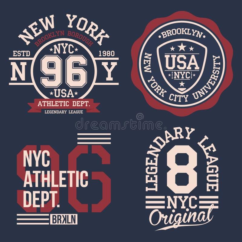 Uitstekende geplaatste etiketten, atletieksporttypografie voor t-shirtdruk Varsitystijl Grafische t-shirt vector illustratie